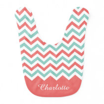 Chevron Coral and Aqua Custom Name Bib