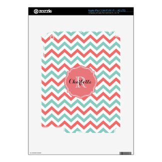 Chevron Coral and Aqua Custom Name Decals For iPad 3