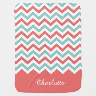 Chevron Coral and Aqua Custom Name Stroller Blanket