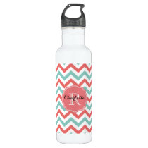 Chevron Coral and Aqua Custom Name Water Bottle