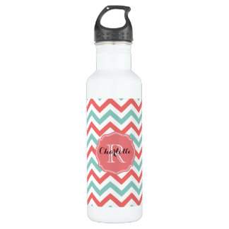 Chevron Coral and Aqua Custom Name Water Bottle