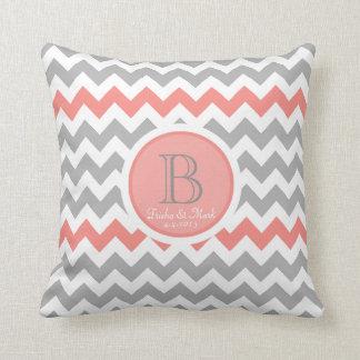 Chevron Coral Gray White Monogram Wedding Pillow