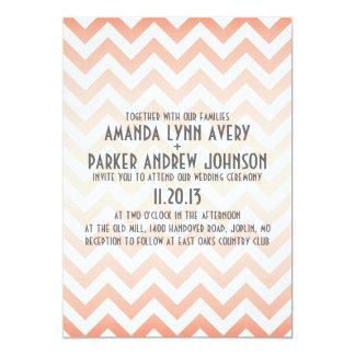 Chevron Coral Ombre Modern Wedding Invitation