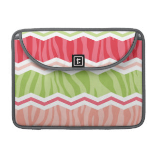 Chevron Coral Pink and Light Green Zebra Stripes MacBook Pro Sleeves
