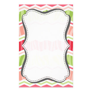 Chevron Coral Pink and Light Green Zebra Stripes Custom Stationery