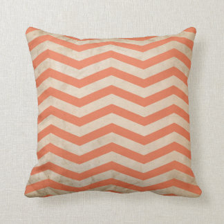Chevron Coral Red Lines Grunge Texture Throw Pillow