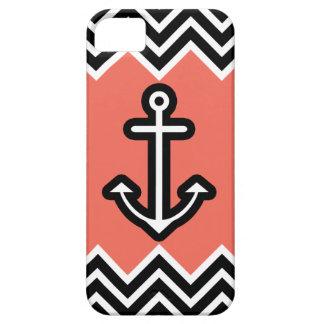 Chevron coralino náutico iPhone 5 Case-Mate cárcasa