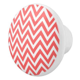 Chevron coralino pomo de cerámica