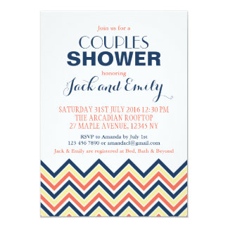 Chevron Couples Shower Invitation Coral And Blue