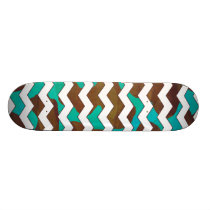Chevron Cow Brown and Teal Print Skateboard Deck