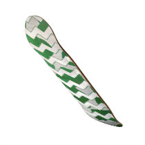Chevron Cow Green and White Print Skateboard
