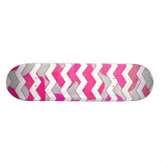 Chevron Cow Hot Pink and White Print Skateboard