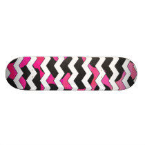 Chevron Cow Pink and Black Skateboard