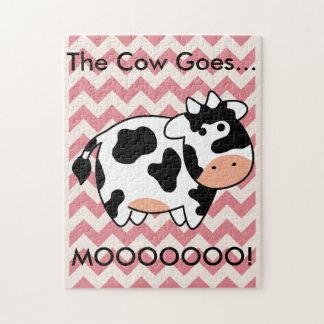Chevron Cow Puzzle