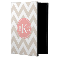 Chevron Custom Monogram | Taupe And Coral Cover For Ipad Air at Zazzle