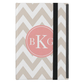 Chevron Custom Monogram | Taupe and Coral iPad Mini Cover