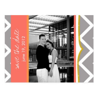 Chevron - Custom Save the Date- Coral Tangerine Postcard