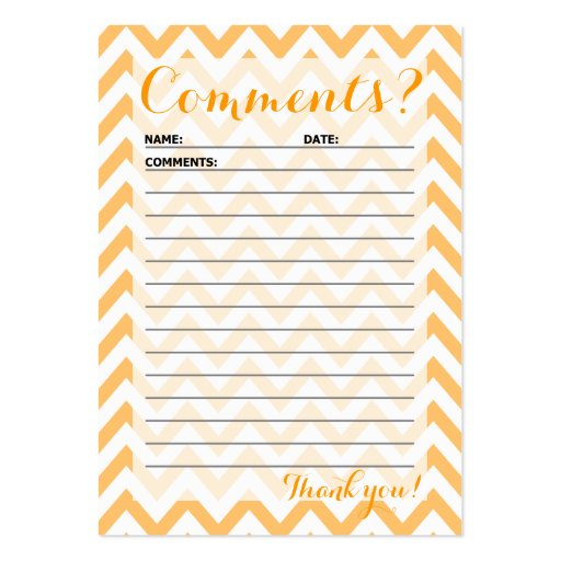 Chevron Customer Comment Card Large Business Cards Pack