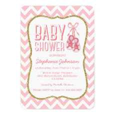 Chevron Cute Pink Booties Baby Shower | Girl Invitation