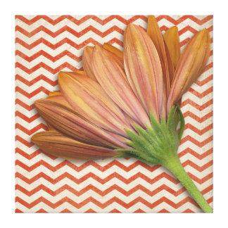 Chevron Daisy Floral ZigZag Pattern Canvas Print
