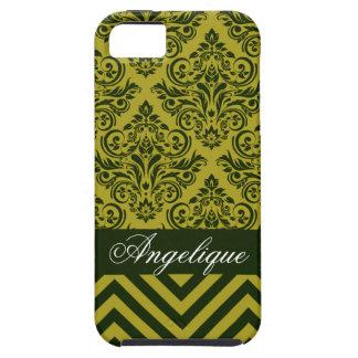 Chevron Damask Designer olive | celery iPhone 5 Cases