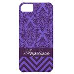 Chevron Damask Designer periwinkle | violet iPhone 5C Case
