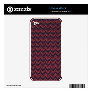 Chevron Damask (Navy,Red) Pattern Skin For The iPhone 4S