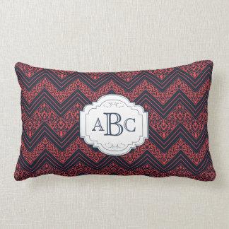 Chevron Damask (Navy,Red) Personalized Monogram Pillow