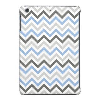 Chevron de los azules cielos, gris oscuro, gris cl funda de iPad mini