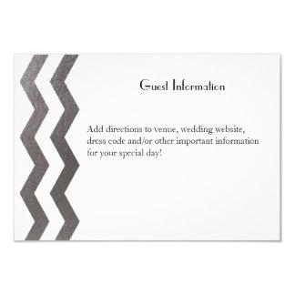 Chevron de plata bilingüe que casa Guestcard Invitación 8,9 X 12,7 Cm