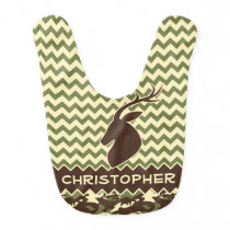 Chevron Deer Buck Camouflage Personalize Bib
