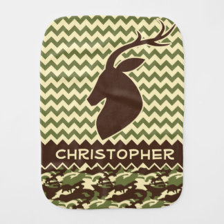 Chevron Deer Buck Camouflage Personalize Burp Cloth