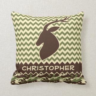 Chevron Deer Buck Camouflage Personalize Pillow
