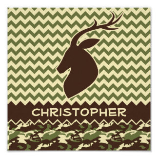 Chevron Deer Buck Camouflage Personalize Poster