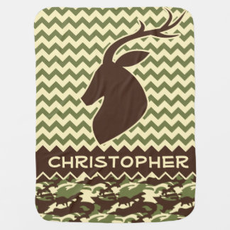 Chevron Deer Buck Camouflage Personalize Stroller Blanket