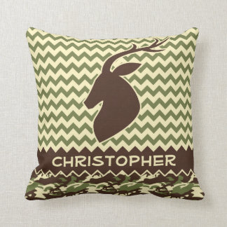 Chevron Deer Buck Camouflage Personalize Throw Pillow