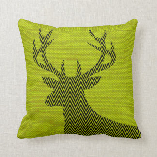 Chevron Deer Silhouette on Burlap | acid green Throw Pillow