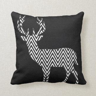 Chevron Deer Silhouette on Burlap   black white Throw Pillow