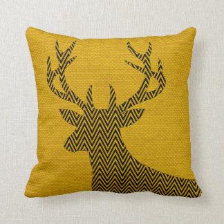 Chevron Deer Silhouette on Burlap   mustard Throw Pillow