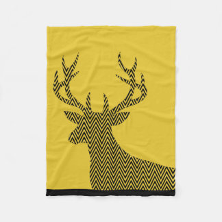 Chevron Deer Stag Silhouette | gold black Fleece Blanket