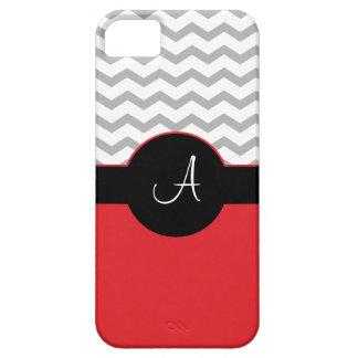 Chevron Design Gray Black Red iPhone5 Case