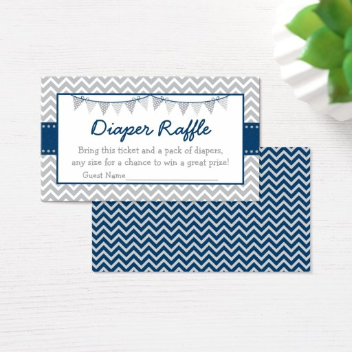Chevron Diaper Raffle Tickets Navy & Grey