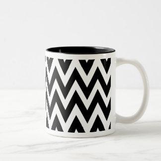 Chevron Dreams black and white Coffee Two-Tone Coffee Mug