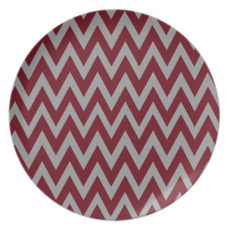 Chevron Dreams eggplant and silver Party Plate