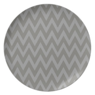 Chevron Dreams grey and ash Party Melamine Plate