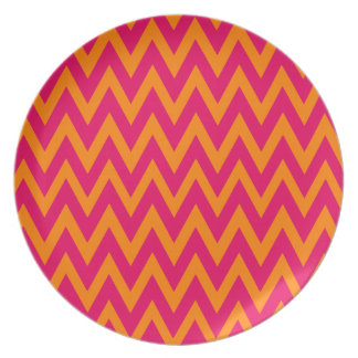 Chevron Dreams hot pink and orange Party Plate