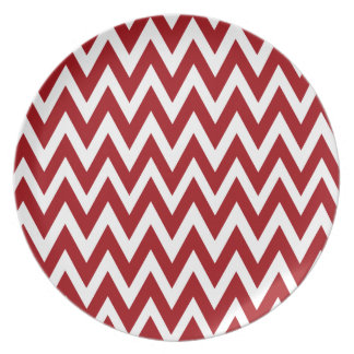 Chevron Dreams red and white Party Dinner Plate