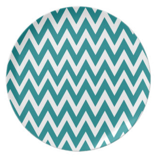 Chevron Dreams teal and white Party Melamine Plate