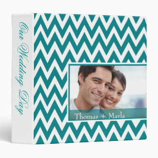 Chevron Dreams Wedding Photo Album teal Binders