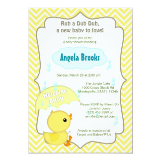 Chevron Duck Baby Shower Sprinkle Invitations